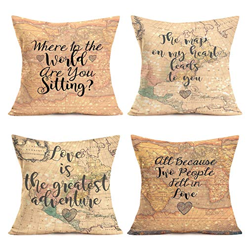 Asminifor Retro Vintage World Map Series Background Geography Theme with Inspirational Phrase Decorative Throw Pillow Case Cushion Cover for Home Sofa 18