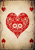Day of the Dead Poster, Sugar Skull Poster, Size:16.5 inch x 11.7 inch, Ace of Hearts, Día De Los Muertos, Mariachi, Unframed