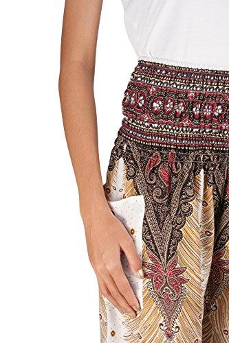 JOOP JOOP Bohemian Tapered Elephant Harem Loose Yoga Pants, White, S/M by JOOP JOOP (Image #4)