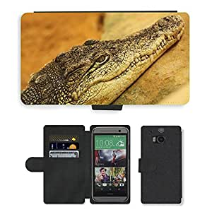 Hot Style Cell Phone Card Slot PU Leather Wallet Case // M00111537 Animal Animals Crocodile Nature // HTC One M8