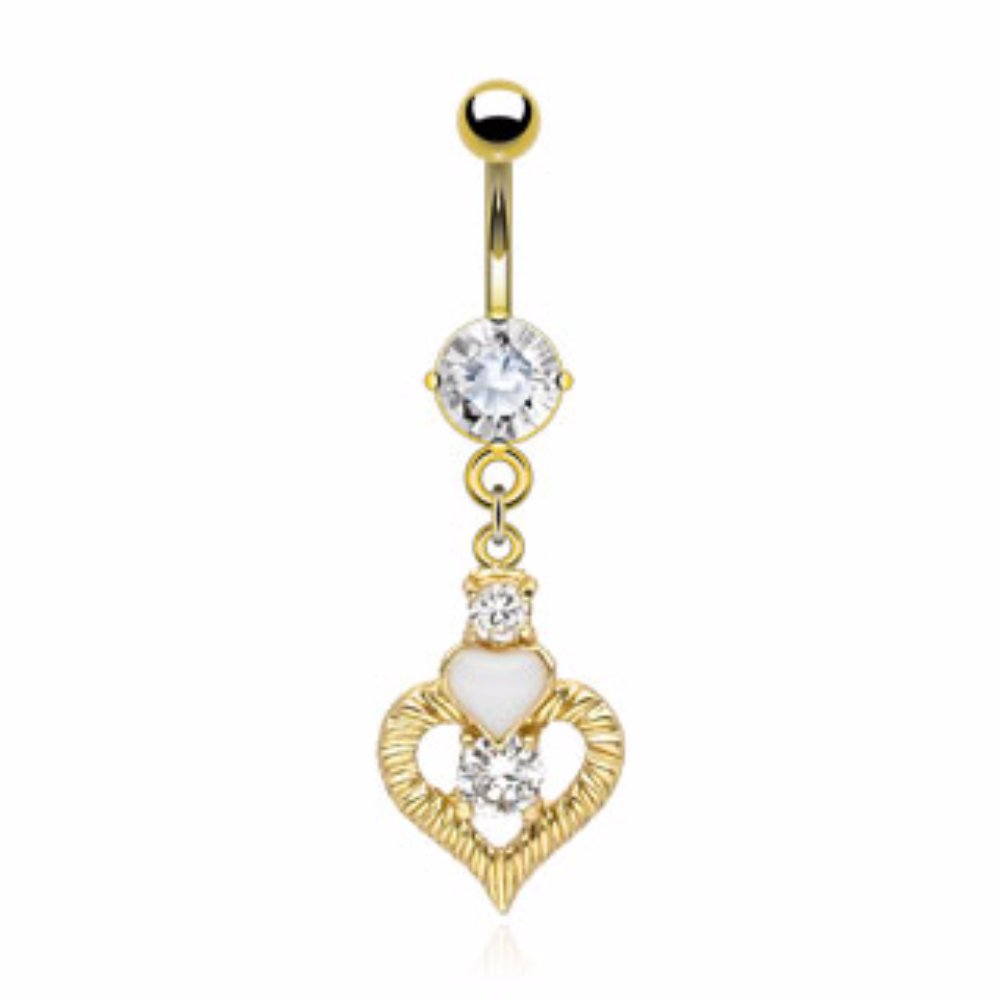 Heart CZ Dangle Freedom Fashion 316L S Steel Gold Plated Navel Ring
