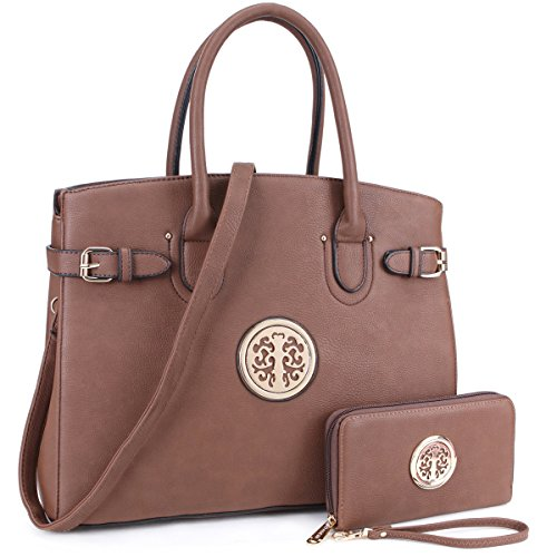DASEIN Women Purses and Handbags Shoulder Bags Ladies Tote Bags Satchel with Wallet (01- Coffee)