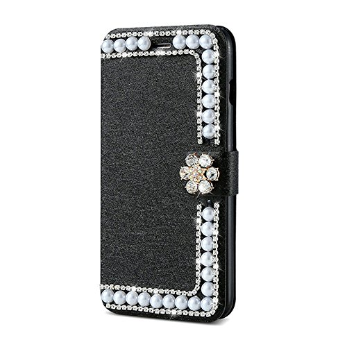 Elaco Women Iphone Case For iPhone 6/6s 4.7 inch /For iPhone 6 Plus 5.5inch/ iPhone 7 4.7inch/iPhone 7 Plus 5.5inch Wallet Card Magnetic Case Cover (Black, iPhone 6 Plus/6s Plus 5.5inch)