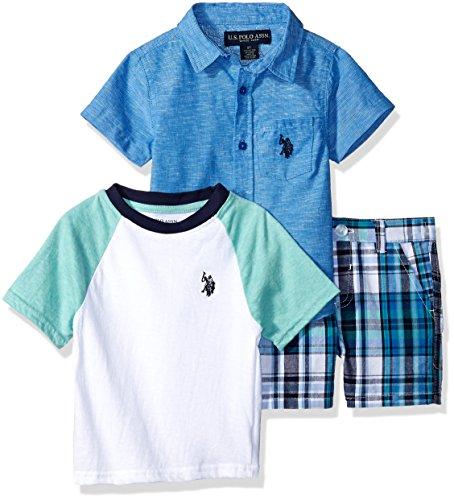 Polo Plaid Shorts (U.S. Polo Assn. Toddler Boys' Sleeve Shirt, T-Shirt and Short Set, Plaid Shirt Blue Logo Flight Blue, 3T)