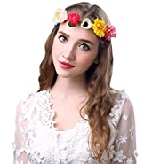 Sumolux White Gardenia Flower Crown for Wedding Festivals