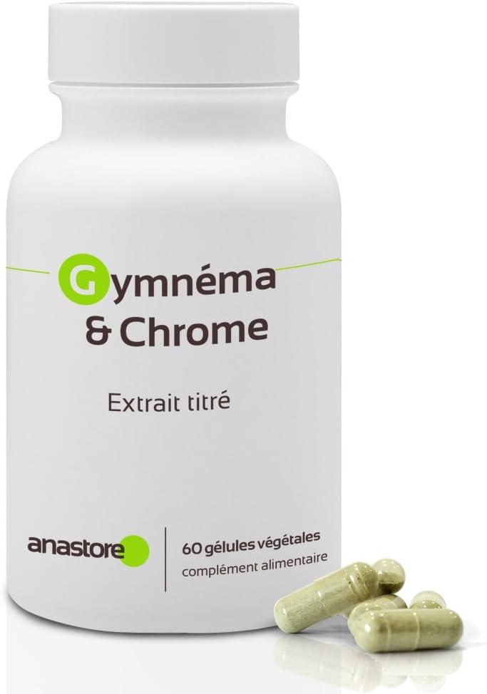 Gimnema y Cromo* 400 mg / 60 cápsulas * Ácido gimnémico 100 mg * Para Diabetes Tipo 1 y Tipo 2 *Fabricado en FRANCIA * Satisfacción o reembolso 100% garantizado