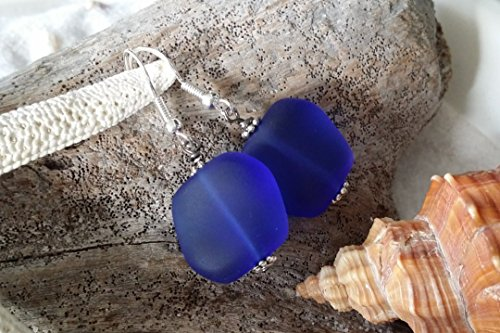 Handmade jewelry in Hawaii,cobalt blue sea glass earrings, sterling silver hooks, Hawaiian Gift, FREE gift wrap, FREE gift message, FREE shipping
