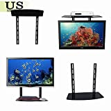 Glass Shelf Wall Mount Bracket Above Under TV Component Cable Box DVR DVD