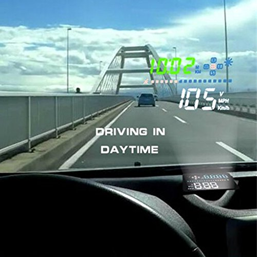 MagiDeal 3.5inch HD Car Head-Up Display Built-in GPS HUD Projector Overspeed Warning Fuel Consumption Speedometers Dashboard Via OBD1//OBD2