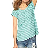 Women Short Sleeve Tops Bohemian Blouse O-Neck T-Shirt Striped Shirt for Ladies Pullover Tee Vest Tank Tops Green