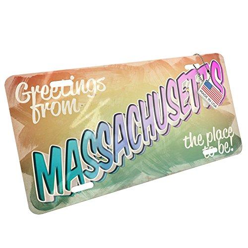 Metal License Plate Greetings from Massachusetts, Vintage Postcard - Neonblond - Massachusetts Vintage Postcard