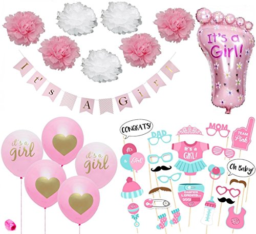 Baby Shower Decorations for Girl Pink and Gold, Banner, Foot Foil Balloon, Pink & Gold Its a Girl Heart Balloons, Photo Booth Props, Pink & White Flowers Pom Poms, Ribbon Roll, Party Set (Pink & Gold) - Foil Pink Flower