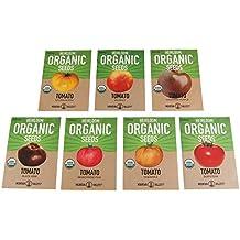Organic Heirloom Slicing Tomato Garden Seeds – 7 Non-GMO Varieties: Pineapple, Hillbilly, Black Krim, Beefsteak, Brandywine Pink, Cherokee Purple Tomato & Golden Queen