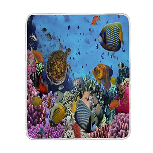 ALAZA Home Decor Beautiful Ocean Sea Turtle Coral Reef Blanket Soft Warm Blankets for Bed Couch Sofa Lightweight Travelling Camping 60 x 50 Inch Throw Size for Kids Boys Women