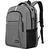 Travel Laptop Backpack with USB Charging Port, Raydem 17.3 Inch Water Resistant School Backpack Business Laptop Bag, TSA Friendly Computer Backpack Anti Theft Carry on Bookbags for Women Men, Grey