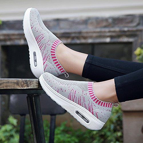 EnllerviiD Women Comfort Platform Walking Sneakers Slip-On Shape UPS Fitness Toning Shoes Grey BBkkLMdC