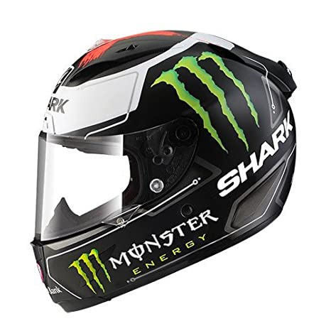 Amazon.es: Shark de Hark - Race - Casco de Moto R Pro Lorenzo Monster Mat, Negro/Blanco, tamaño S