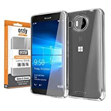 Orzly® FUSION Bumper Case Cover Shell for Microsoft LUMIA 950 XL (2015 Model - Large Phablet Version) - Protective Hard Cover with Impact Absorbing TRANSPARENT Rubber Rim and 100% Clear Back Panel