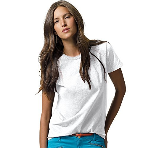 Hanes Women`s Relaxed Fit Jersey ComfortSoftCrewneck T-Shirt, (Coverseamed White Neck T-shirt)