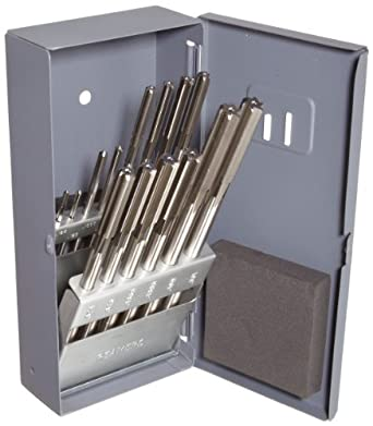 """Union Butterfield 4533S High-Speed Steel Chucking Reamer Set, Straight Flute, Round Shank, Uncoated (Bright) Finish, 14-piece, 1/8""""-1/2"""" x 16ths"""