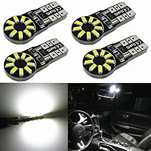 Alla Lighting 4pcs T10 Wedge Best Value Super Bright High Power 3014 18-SMD 194 168 2825 W5W White LED Bulb Lamp for Car Truck Interior Dome Map Door Courtesy License Plate Lights
