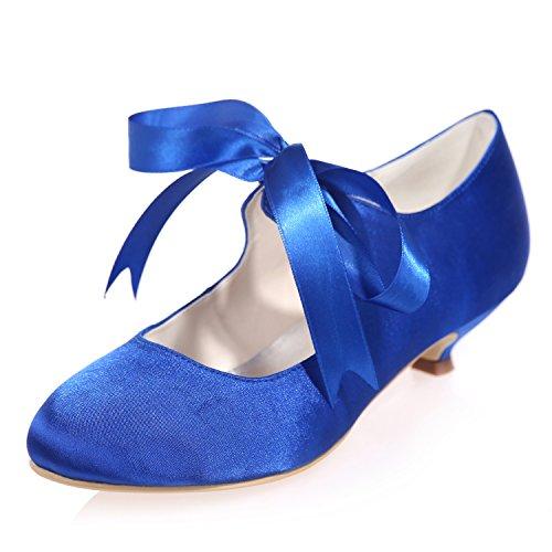 Nastro da Elobaby 3 Sposa 5 da Damigella Toes Dress Scarpe Blue d'Onore Kitten Donna Sposa Tacco Sandali Chiuso da cm qtwvZzpnt