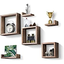 Love-KANKEI Floating Shelves Set of 7, Rustic Wood Wall Shelves With 3 Square Boxes and 4 Small L Shelves For Free Grouping