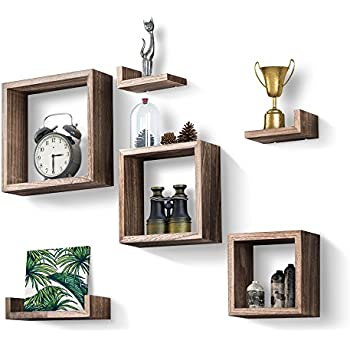 Love KANKEI Floating Shelves Set Of 7, Rustic Wood Wall Shelves With 3  Square Boxes And 4 Small L Shelves For Free Grouping