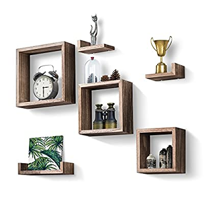 Love-KANKEI Floating Shelves Wall Mounted Set of 6 - Rustic Wood Shelves Free Grouping with 3 Square Cube Shelves and 3 U Shelves for Bedroom Living Room - [Functional] - Simple shelves for displaying collectibles, arts, crafts, picture frames, house plants, stuffed toys in living room, bedroom, office or for home supplies in bathroom or kitchen [Sturdy] - Constructed of solid paulonia wood, lightweight yet sturdy, each wood shelf holds up to 11lbs; easy to install, hardware and instructions provided [Decorative] - torched wood finish gives the floating shelves a rustic/vintage look, great match or addition to any home decor - wall-shelves, living-room-furniture, living-room - 51IeVEIP9ML. SS400  -