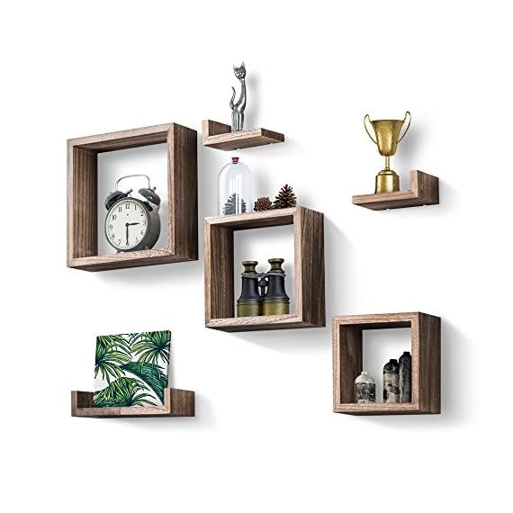 Love-KANKEI Floating Shelves Wall Mounted Set of 6 Rustic Wood Shelves Free Grouping with 3 Square Cube Shelves and 3 U Shelves for Bedroom Living Room - [Functional] - Simple shelves for displaying collectibles, arts, crafts, picture frames, house plants, stuffed toys in living room, bedroom, office or for home supplies in bathroom or kitchen [Sturdy] - Constructed of solid paulownia wood, lightweight yet sturdy, each wood shelf holds up to 11lbs; easy to install, hardware and instructions provided [Decorative] - Torched wood finish gives the floating shelves a rustic/vintage look, great match or addition to any home decor - wall-shelves, living-room-furniture, living-room - 51IeVEIP9ML. SS570  -