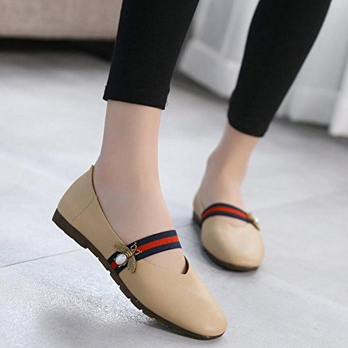 Single Soft and Shoes Flat Bottom White Head Shoes Shoes with Wild Spring Khaki Peas Square Drift Pu Summer Black Women's Shoes Khaki GAOLIXIA xIq8wZ6