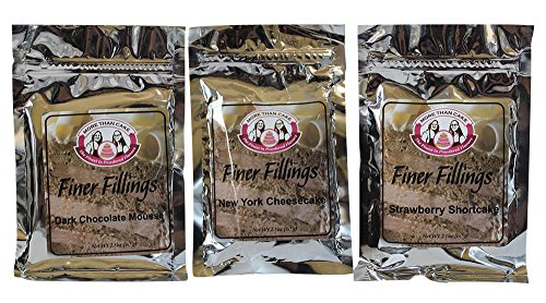 Dark Chocolate Mousse, New York Cheesecake, Strawberry Shortcake Finer Fillings 60g Dessert Mix Variety Bundle by More Than Cake, 3 Pack