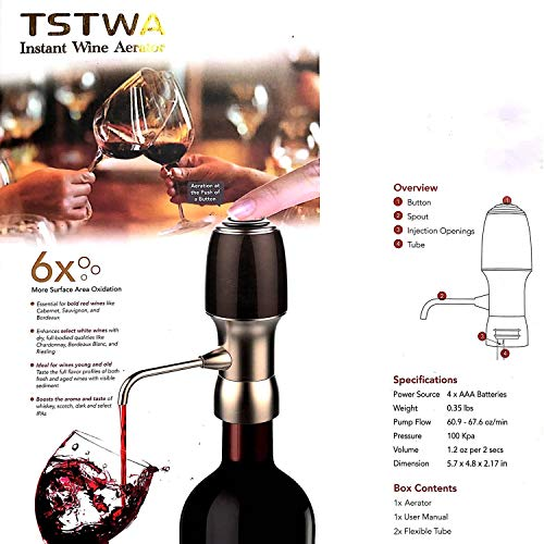 EP Electric Wine Aerator for Red & White Wine, Instant Wine Aerator, One-Button Press Electric Wine Decanter Pourer, Black Gold by EASTERN POWER (Image #6)