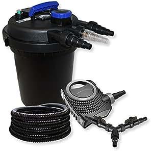 SUNSUN Impresión filtro para estanque Juego 10.000L 11W UVC depuradora neo1000080W Bomba Manguera de 25m