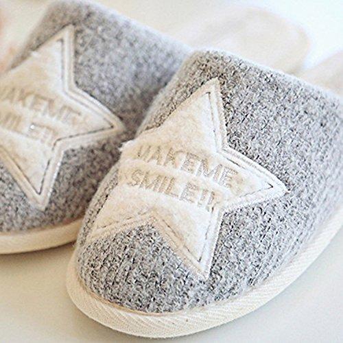 Sasairy Damen Baumwolle Pantoffeln mit Sternenmotiv/Diamantmotiv Mädchen Anti-Rutsch Hausschuhe Slipper für Herbst und Winter Grau
