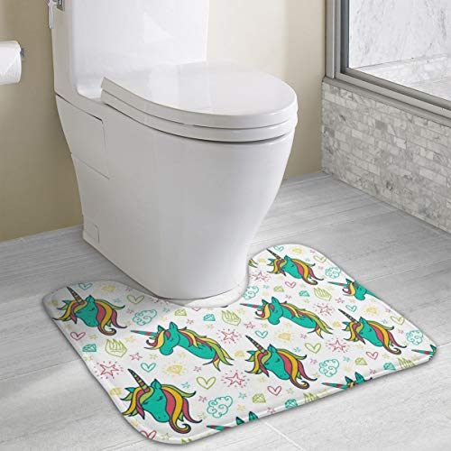 Dbou Seamless Art Print Unicorns Colorful Pattern U-Shaped Absorbs Moisture Non Slip Bathroom Rugs Toilet Carpet Floor Mat, 15.8
