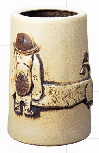 信楽焼陶器 傘立 ウォッチングドック 白砂釉 B 高44cm MA327 B00DI33DQ4