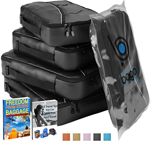 Packing Cubes for Travel Luggage Suitcase and Bags Organization - 4pc (Black) Set Large and Medium Organizers Pouches for Protection and Compression of Multi Clothes Shoes and Accessories - (BLACK).