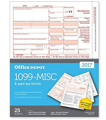 Office Depot Brand 1099 Misc Tax Forms For 2017 Tax Year  2 Up  4 Part  8 1 2  X 11   Pack Of 25 Forms