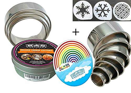 K&S Artisan Round Cookie Biscuit Cutter set - 11 Graduated & NUMBERED Circle Pastry Cutters Rust Proof Commercial Quality 100% Stainless Steel Metal ring molds for Baking Cooking + 3 cookie stencils