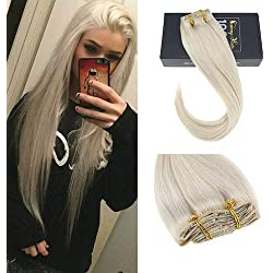"Sunny Hair 24"" 7 Pcs 120 Gram Platinum Blonde Clip in Straight Hair Extensions Full Head #60 Blonde Clip in Real Human Hair Extensions"