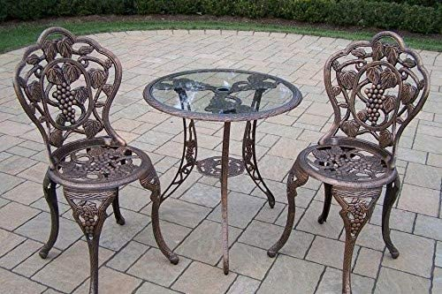Oakland Living Vineyard Cast Aluminum 24-Inch Glass Top Table with 3-Piece Bistro Set, Antique Bronze