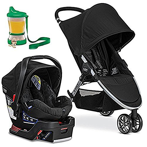 Britax 2017 B-Agile/B-Safe 35 Travel System, Black & Non-Spill Cup and Snack Container(Colors May Vary)