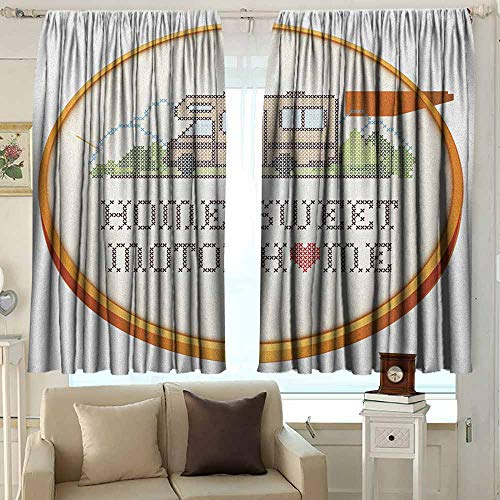 - AFGG Exterior/Outside Curtains Home Sweet Home Embroidery Hoop Cross Stitch Needlework Sewing Design Trailer Home Print Waterproof Patio Door Panel 72 W x 72 L Inches Multicolor