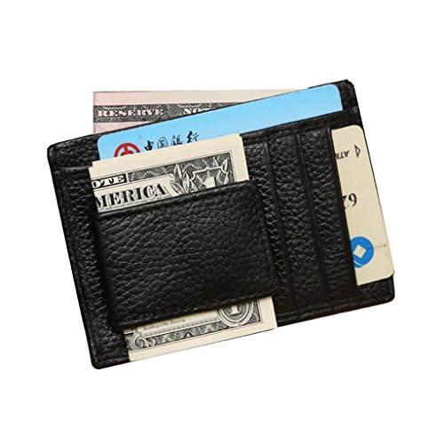 Prime Clearance Sale & Deals Day 2017-Men's Genuine Leather Money Clip Money Wallet For Cash Fashion Designer Wallet for Cards Dad's Gifts(Black)