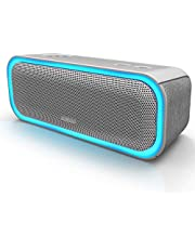 DOSS SoundBox Pro Portable Wireless Bluetooth Speaker with 20W Stereo Sound, Active Extra Bass, Wireless Stereo Paring, Multiple Colors Lights, Waterproof IPX5, 10 Hrs Battery Life -Grey