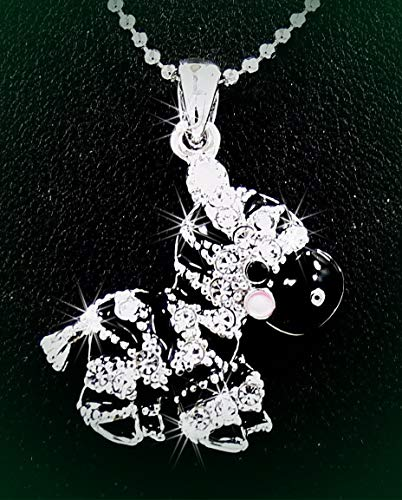 Adorable Zebra Austrian Crystal Silver Tone Pendant Rhinestone Necklace Set for Women Baby