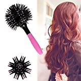 Vinmax 3D Hair Brush,360 Degree Ball 3D Bomb Curl Brush - Hot Curling Tangle Brush Styling Salon Round Hair Curling Comb Tool(Pink)