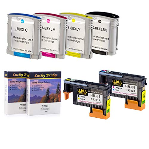 - LKB 2PK HP88 Printhead C9381A C9382A Remanufactured Printhead and 1 Set HP88XL Ink Cartridge with chip Never Used Compatible for HP Officejet (1 Set Printhead and Ink Cartridge)-USA