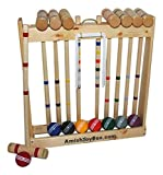 Amish-Made Deluxe Wooden Croquet Game Set, 8 Player (32' Handles)